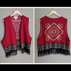 Vest with Beautiful Pattern and black Fringe